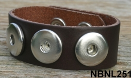 Leren Clicks armband donker bruin 23 cm | 251