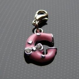 Charm bedel roze - letter G