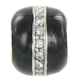 Pandora style bedel - zwart/zirkonia | Z662