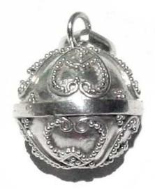 Zilveren Zwangerschapsbel / Bola hartjes (Ø 14 mm) | ZB14