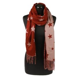 Prachtige sjaal roest rood met sterren