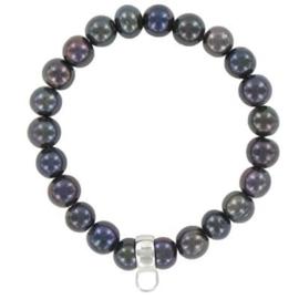 Charm kralen armband zwart/paars - TSA05