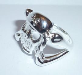 Zilveren ring met Doodshoofd 18 mm | R001