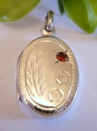 Zilveren medaillon met rode zirkonia |2091