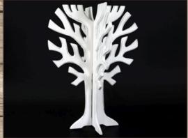 Levensboom 3d hout antique white 30x40cm