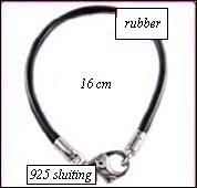 Rubber armband zilveren sluiting 16cm