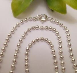 Zilveren bolletjes ketting 90 cm 2 mm | BK07