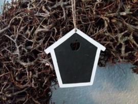 Mini krijbord hanger huisje white 10,5x10,5cm