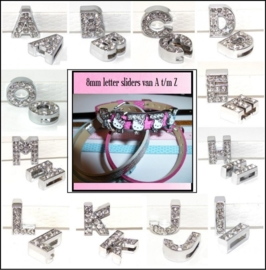 Alfabet letter sliders 8mm | A t/m Z | Bling Bling