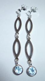 Lange zilveren oorbellen met Aquamarijn 4,5 cm | 0073