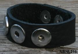Leren Clicks armband zwart 22 cm | 216