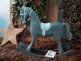 Houten hobbel paard grey 27x22,5 cm