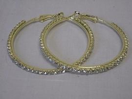 Creolen goud kleurig met stras Ø 5 cm