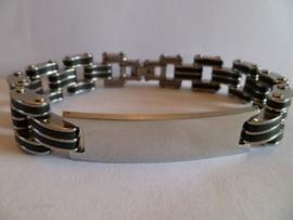 Rubber/edelstalen armband met plaat 21cm | HA14