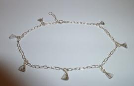 Zilveren enkelbandje met zirkonen 24 cm | A004
