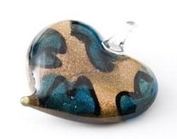 Murano glashanger hart - goud, blauw, zwart | CMG168