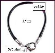 Rubber armband zilveren sluiting 17cm