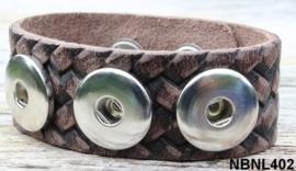 Leren Clicks armband donker bruin 25 cm | 402