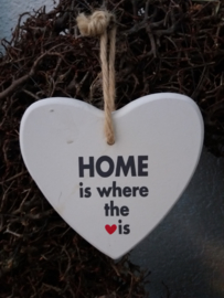 Houten tekst hanger S 14,5cm Home is where....