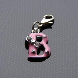 Charm bedel roze - letter B