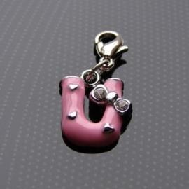 Charm bedel roze - letter U
