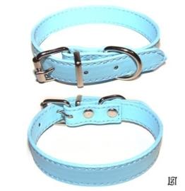 Lederen halsband blauw Medium (18mm sliders)