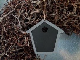 Mini krijbord hanger huisje grey 10,5x10,5cm