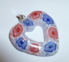 Murano glashanger hart - rood, wit, blauw | MMG383