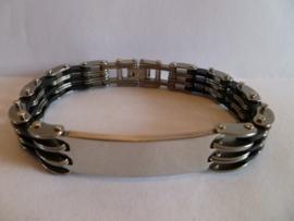 Rubber/edelstalen armband met plaat 21cm | HA16