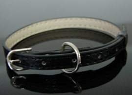 Lederen Halsband voor Chihuahua of poes | zwart