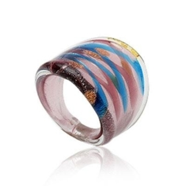 MR6. Murano ring (blauw/roze) 18mm