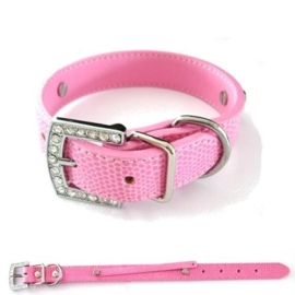 Lederen halsband met stras roze Smal (8mm sliders)