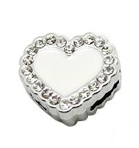 FS05. Stras heart slider white 8mm