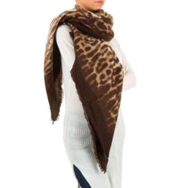 Sjaal/omslagdoek van Best Fashion brown panter print