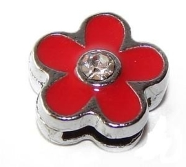 FS33. Slider flower red 8 mm