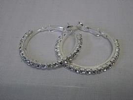 Creolen zilver kleurig met stras Ø 3 cm