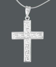Zilveren kettinghanger bewerkt kruisje | 3327