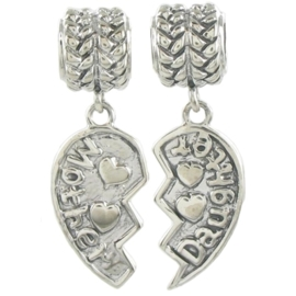 Pandora style bedel - mother and daughter Z355