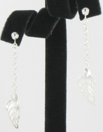 Fashion Zilveren oorbellen blad | 0003
