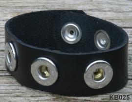 Leren Clicks armband zwart 22 cm | 250