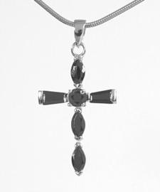 Zilveren kettinghanger kruisje met onyx | 8128