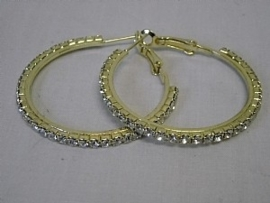 Creolen goud kleurig met stras Ø 4 cm