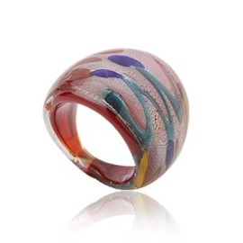 MR11. Murano ring (blauw/rood) 16/17mm
