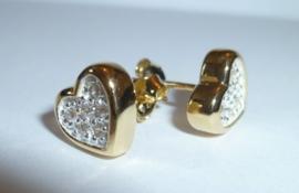 Zilveren oorbellen hartjes Goldplated | 0071