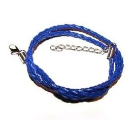 Gevlochten ketting - blauw - 45 cm