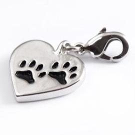 Charm bedel - hartje met hondevoetjes | 0247