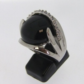 Stainless Steel ring | onyx, zirkonia mt. 18 / 19 mm