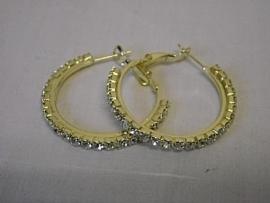 Creolen goud kleurig met stras Ø 3 cm