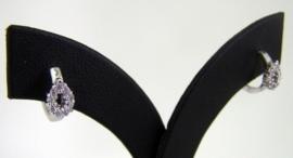 Fashion Zilveren klap Creolen zirkonia`s | 0059