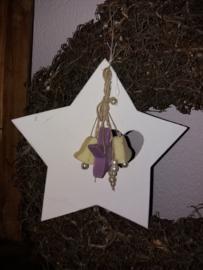 Houten ster met sierzeepjes 29cm lila